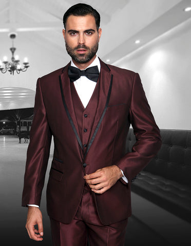 Mens One Button Satin Trim Notch Tuxedo in Shiny Burgundy Sharkskin