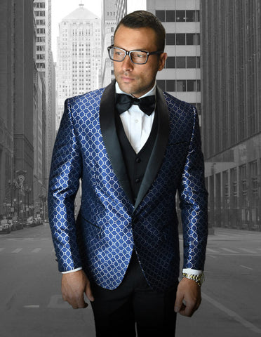 Mens Vested One Button Shawl Tuxedo in Geometric Chain Print in Navy