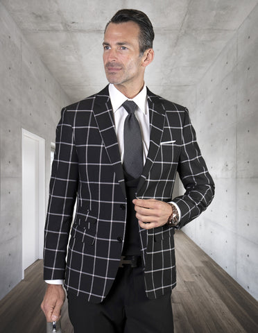 Mens 2 Button Suit with Low Cut Vest in Black Plaid