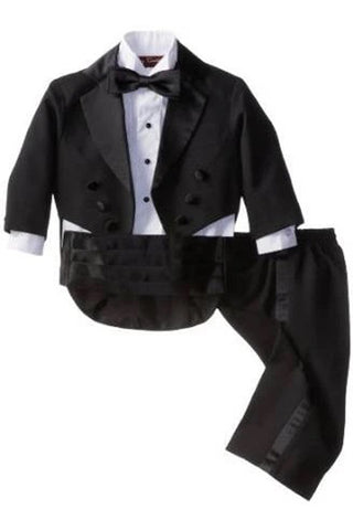 Boys Formal Tail Coat Tuxedo in Black with Shirt