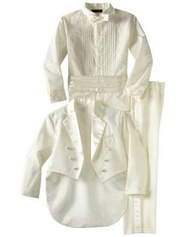Boys Formal Tail Coat Tuxedo in Ivory with Shirt