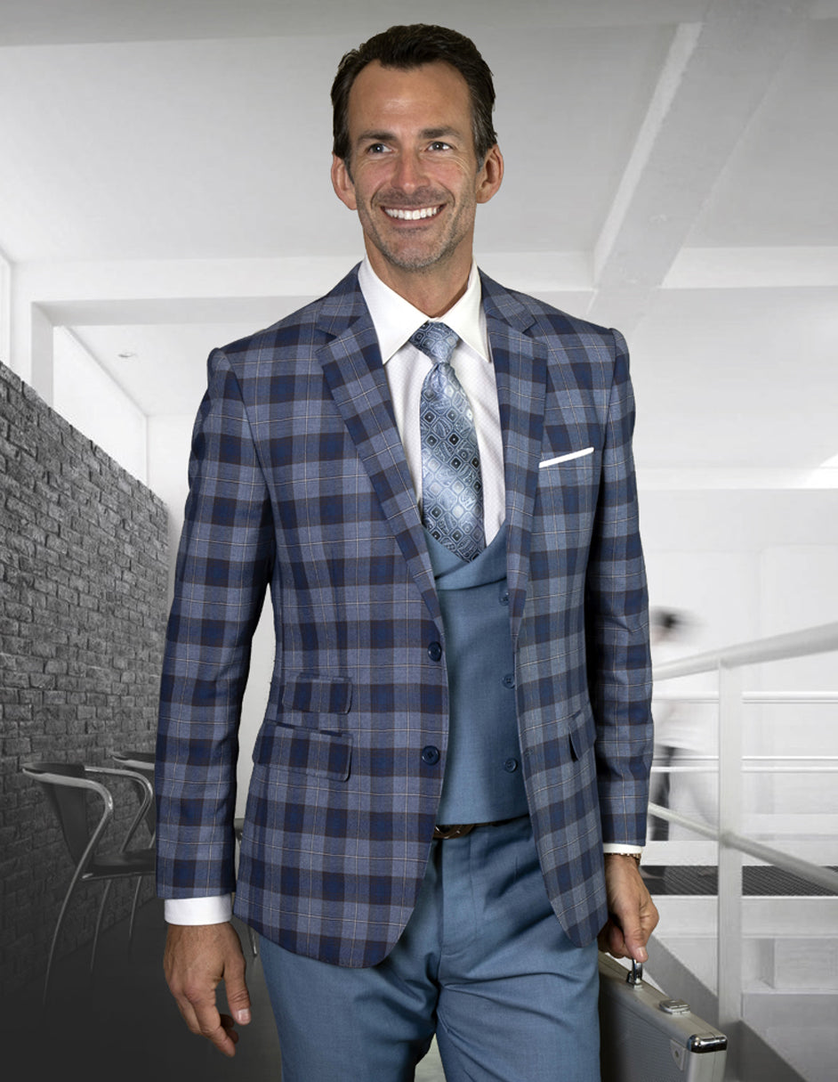 Mens 2 Button Suit with Low Cut Vest in Indigo Plaid