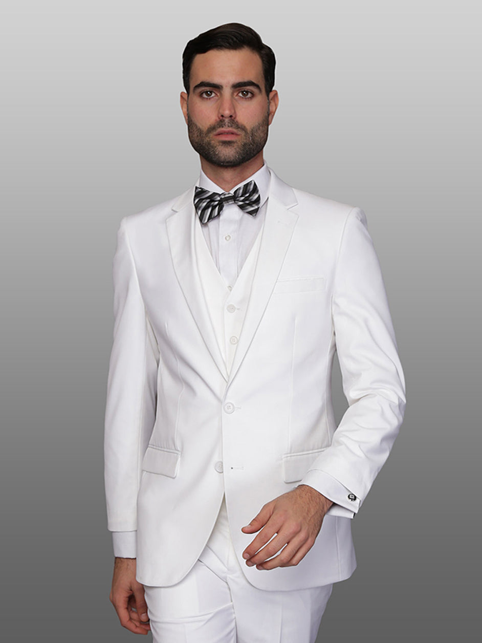 Mens 2 Button Vested Skinny Wool Suit in White