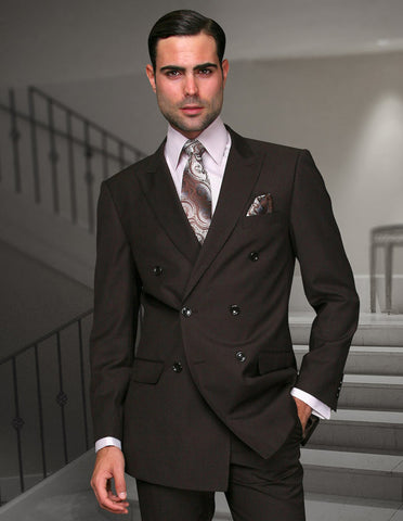 Mens Classic Wool Double Breasted Suit in Brown