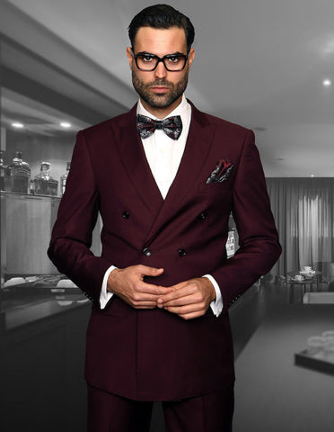 Mens Classic Wool Double Breasted Suit in Burgundy