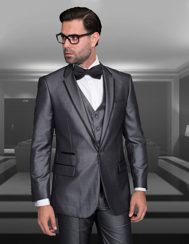 Mens One Button Satin Trim Notch Tuxedo in Shiny Grey Sharkskin