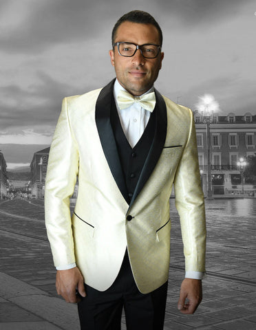 Mens Vested One Button Shawl Tuxedo in Geometric Chain Print in Ivory