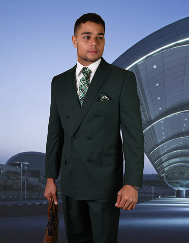 Mens Classic Wool Double Breasted Suit in Hunter Green