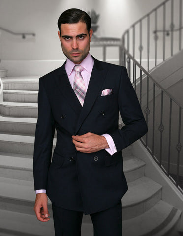 Mens Classic Wool Double Breasted Suit in Navy Blue