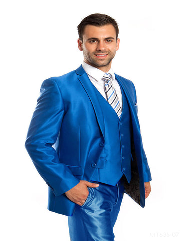 Mens 2 Button Vested Shiny Sharkskin Suit in Royal Blue