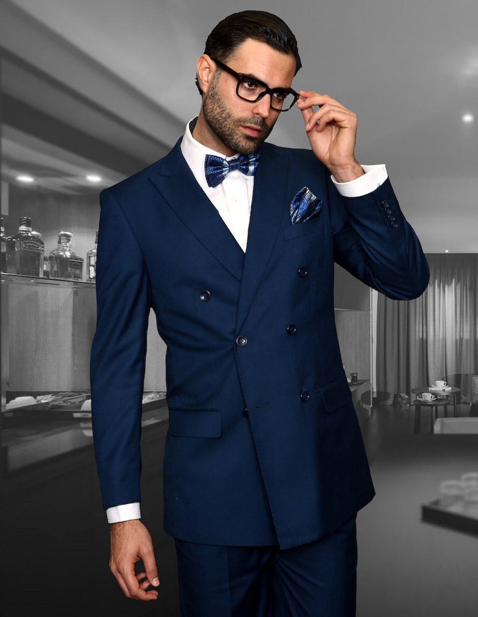 Mens Classic Wool Double Breasted Suit in Sapphire Blue