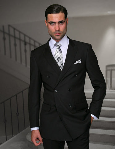 Mens Classic Wool Double Breasted Suit in Black