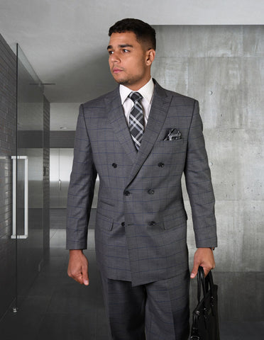 Mens Double Breasted Wool Suit in Charcoal Grey Windowpane