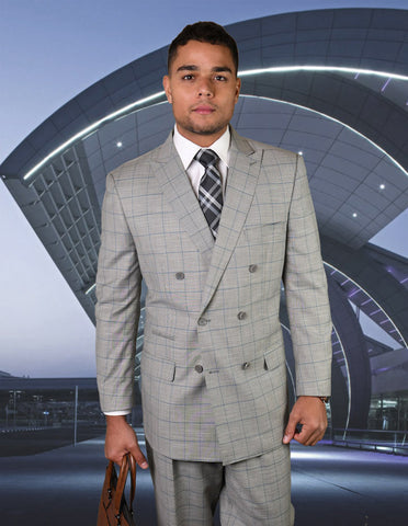 Mens Double Breasted Wool Suit in Grey Windowpane