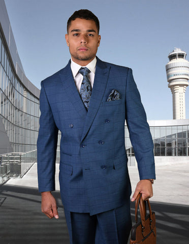 Mens Double Breasted Wool Suit in Indigo Windowpane