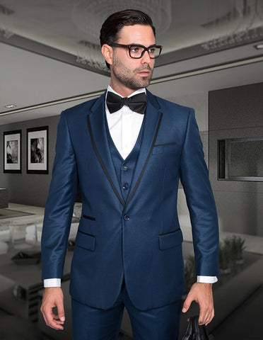 Mens One Button Satin Trim Notch Tuxedo in Shiny Indigo Sharkskin