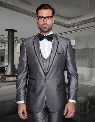 Mens One Button Satin Trim Notch Tuxedo in Shiny Silver Sharkskin