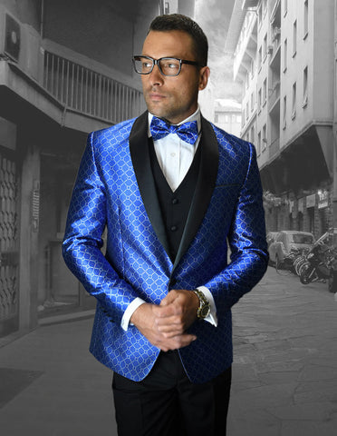 Mens Vested One Button Shawl Tuxedo in Geometric Chain Print in Royal
