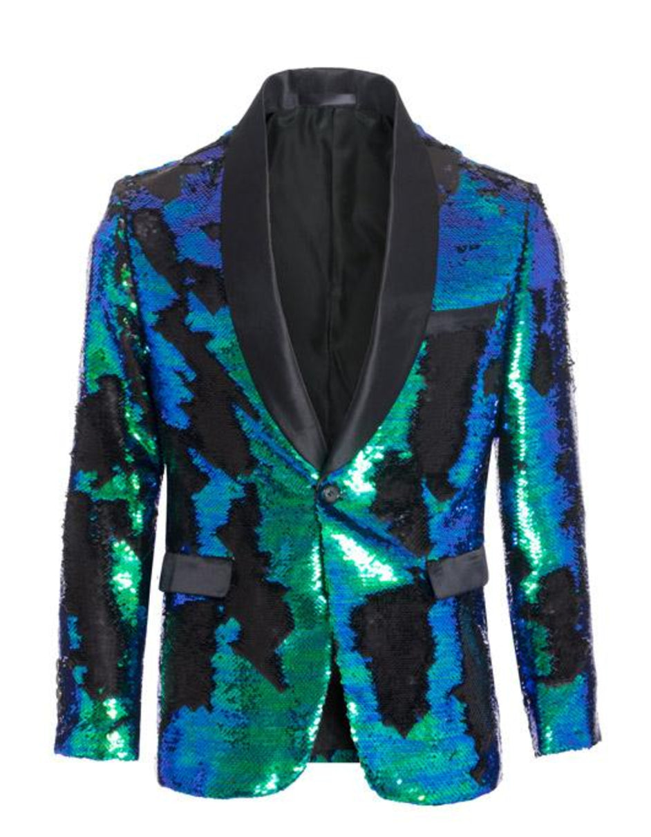 1 Button Reversible Sequin Blazer In Green and Black