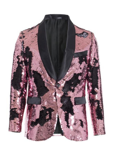 1 Button Reversible Sequin Blazer In Pink and Black