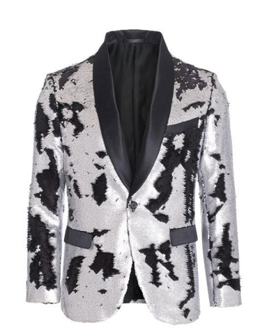 1 Button Reversible Sequin Blazer In Silver and Black