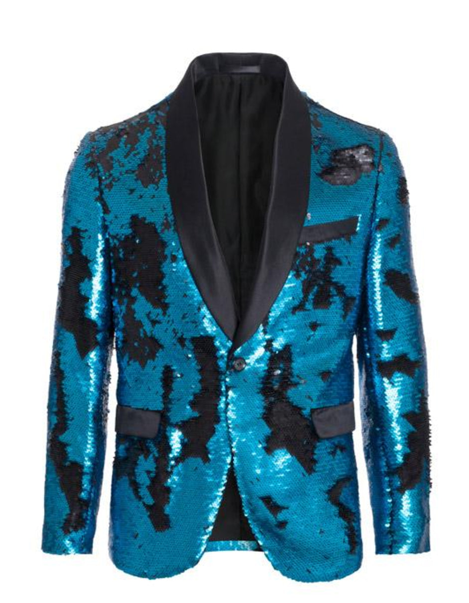 1 Button Reversible Sequin Blazer In Turquoise and Black