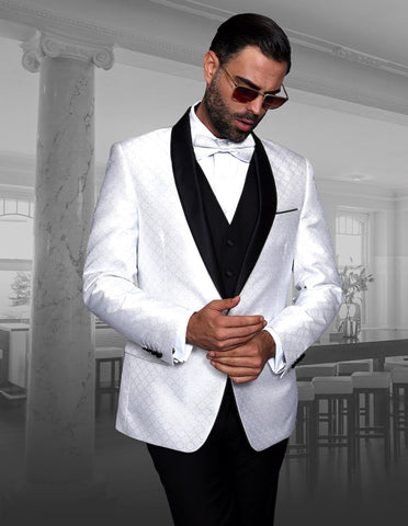 Mens Vested One Button Shawl Tuxedo in Geometric Chain Print in White