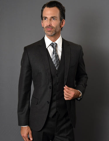 Mens 2 Button Slim Fit Vested Suit in Black Textured Fabric