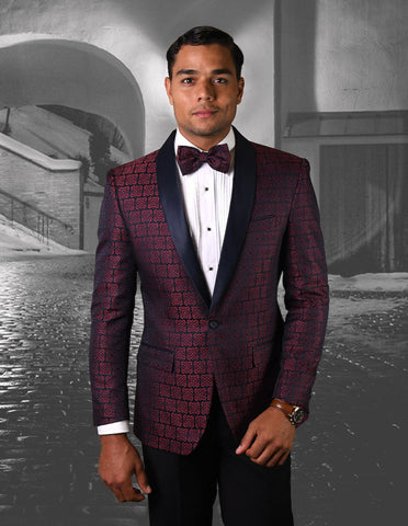 Mens Shawl Tuxedo in Geometric Square Rose Pattern in Navy & Red