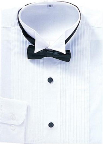 Mens Convertible Cuff Wing Collar Tuxedo Shirt in White