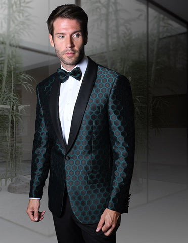 Mens One Button Shawl Tuxedo in Geometric Beehive Print in Green