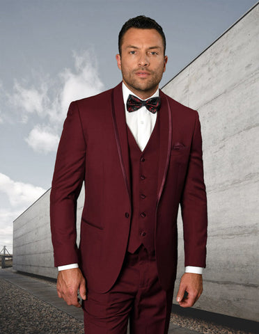 Mens Vested Shawl Lapel Tuxedo With Satin Trim in Burgundy