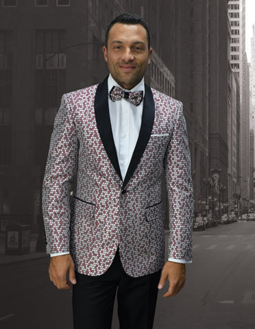 Mens Mini Circle Print Shawl Lapel Tuxedo in Burgundy