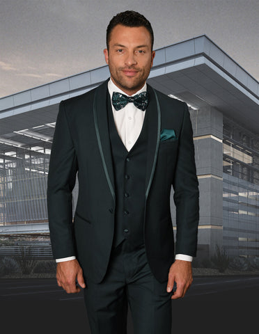 Mens Vested Shawl Lapel Tuxedo With Satin Trim in Hunter Green