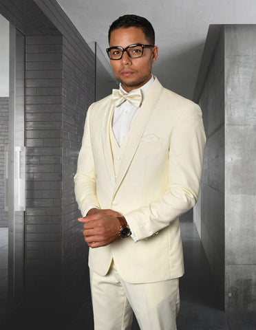 Mens Vested Shawl Lapel Tuxedo With Satin Trim in Ivory