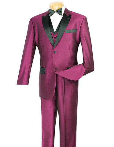 Mens Peak Lapel Sharkskin Vested Tuxedo in Burgundy