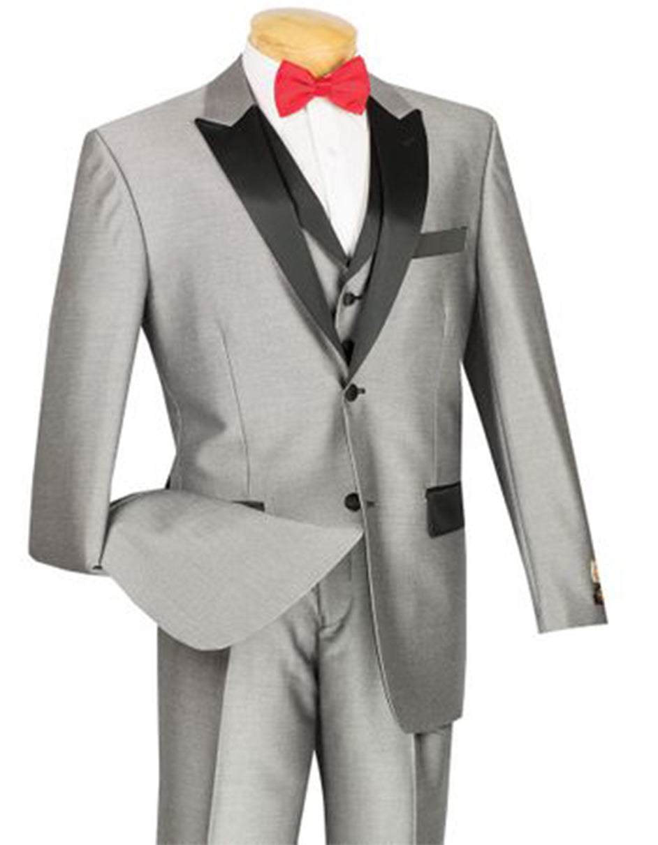 Mens Peak Lapel Sharkskin Vested Tuxedo in Silver
