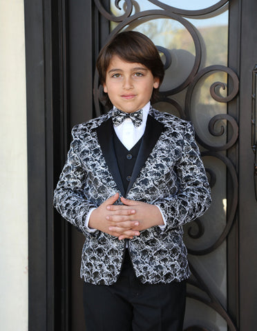 Boys Vested One Button Floral Pattern Tuxedo in Black