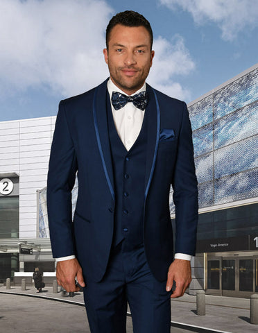 Mens Vested Shawl Lapel Tuxedo With Satin Trim in Sapphire Blue
