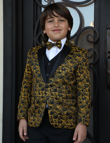 Boys Vested One Button Floral Pattern Tuxedo in Gold
