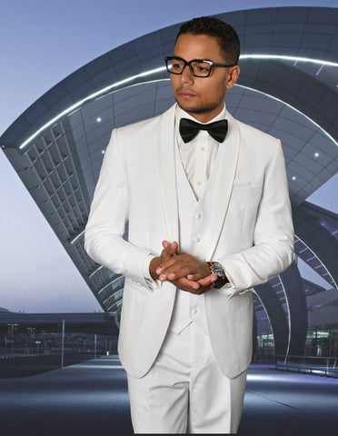 Mens Vested Shawl Lapel Tuxedo With Satin Trim in White