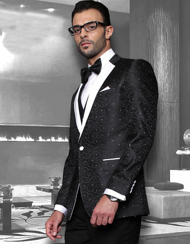 Mens Swirl Paisley Tuxedo in Black & White