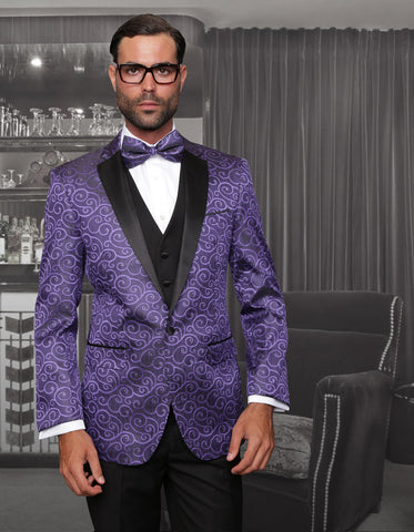 Mens Swirl Paisley Tuxedo in Purple & Black