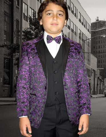 Boys Vested One Button Floral Pattern Tuxedo in Purple