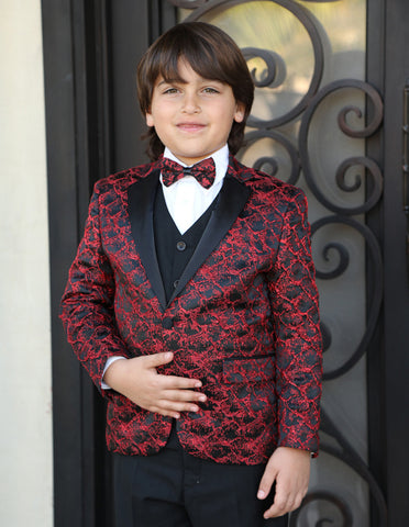 Boys Vested One Button Floral Pattern Tuxedo in Red