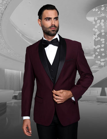 Mens Vested Wool Shawl Lapel Tuxedo in Burgundy