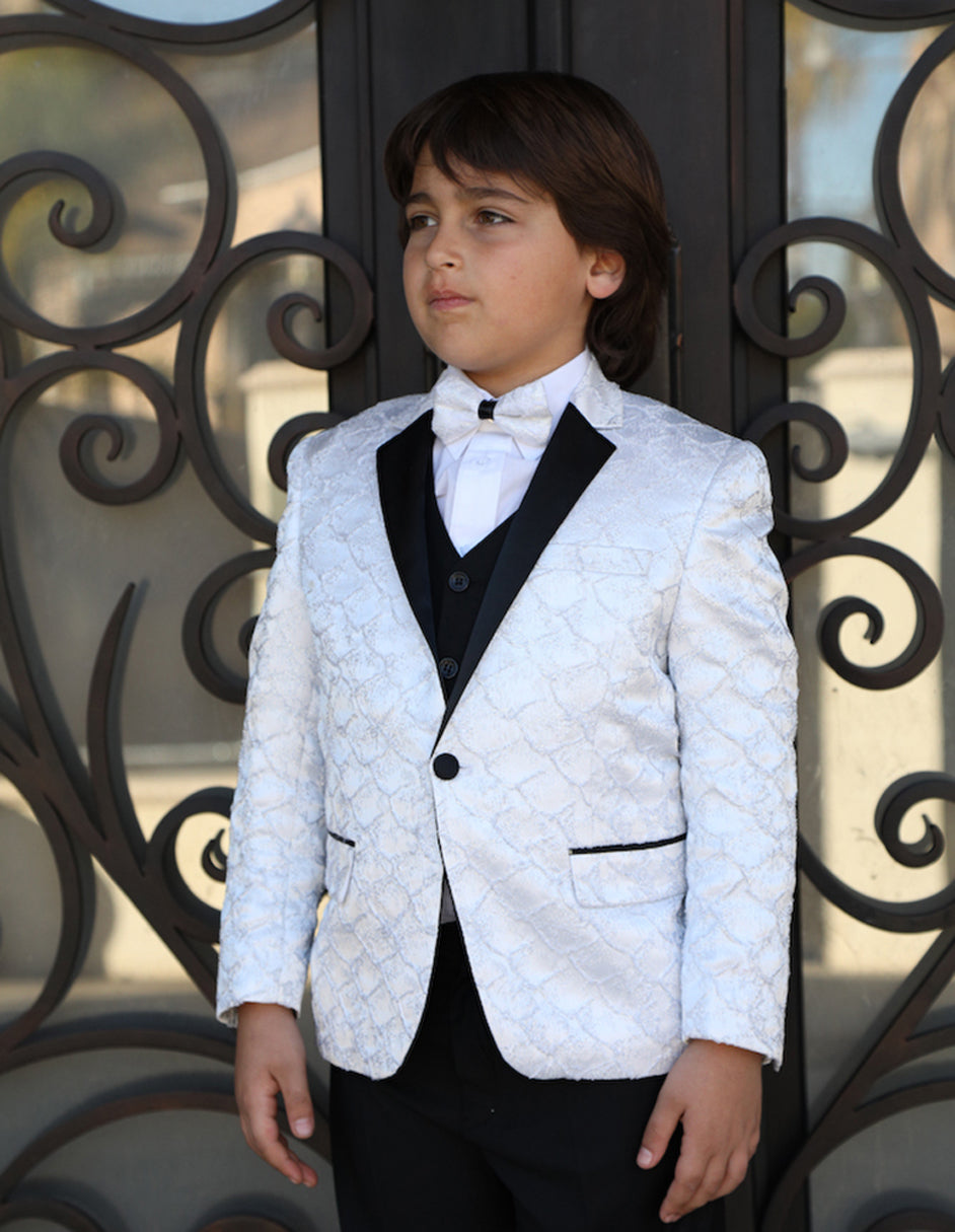 Boys Vested One Button Floral Pattern Tuxedo in White
