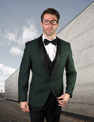 Mens Vested Wool Shawl Lapel Tuxedo in Hunter Green