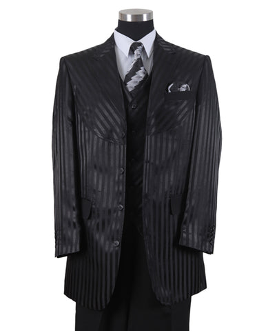 Mens 3 Button Ton on Ton Stripe Fashion Suit in Black