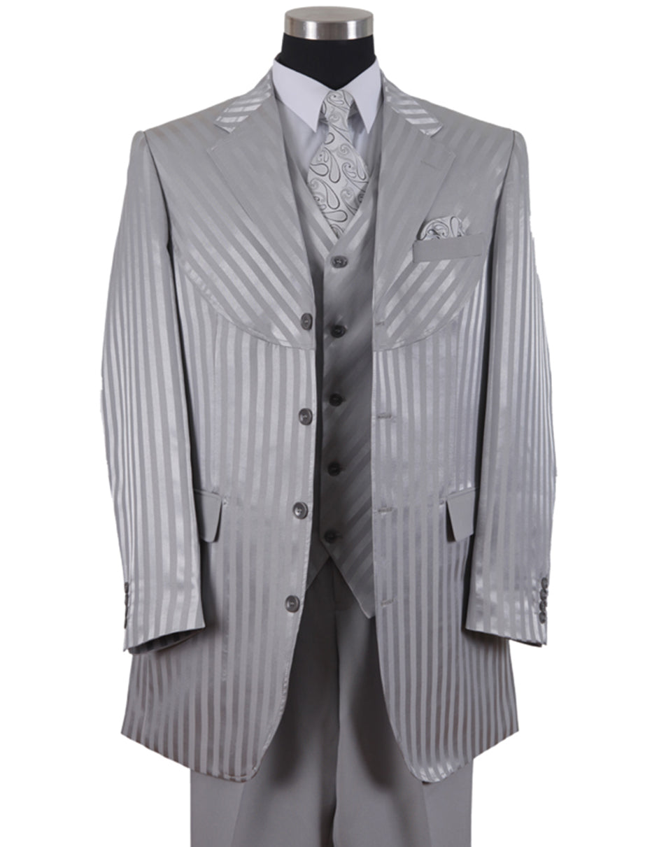 Mens 3 Button Ton on Ton Stripe Fashion Suit in Grey